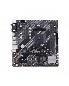 AMD A520 (Ryzen AM4) micro ATX motherboard with M.2 support, 1 Gb Ethernet, HDMI/DVI/D-Sub, SATA 6 Gbps, USB 3.2 Gen 2 Type-A, and Aura Sync RGB lighting support