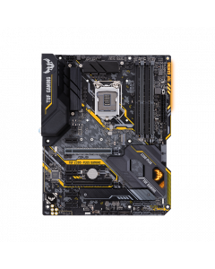 ASUS TUF Z390-PLUS GAMING, Intel Z390 ATX gaming motherboard with OptiMem II, Aura Sync RGB LED lighting, DDR4 4266+ MHz support, 32Gbps M.2, Intel Optane memory ready, and native USB 3.1 Gen 2.